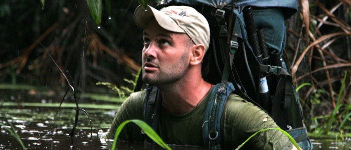 In this Nov. 2008 photo released by Press Contact on Aug. 9, 2010, Ed Stafford, of England, walks through water in an unknown location in Peru during his journey along the Amazon river.  After 859 days and thousands of miles Ed Stafford became the first man known to have walked the entire length of the Amazon river. (AP Photo/Press Contact, Keith Ducatel)